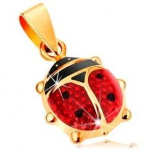 Šperky eshop - Zlatý 14K prívesok - väčšia vypuklá lienka pokrytá červenou a čiernou glazúrou GG167.04