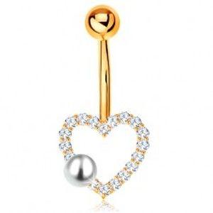 Šperky eshop - Zlatý 375 piercing do bruška - banán s guľôčkou, zirkónový obrys srdiečka, perla GG183.35