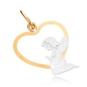 Šperky eshop - Zlatý dvojfarebný prívesok 375 - kľačiaci anjelik v spodnej časti obrysu srdca GG48.06