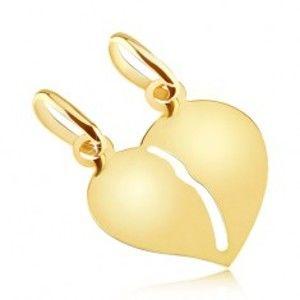 Šperky eshop - Zlatý dvojprívesok 585 - hladké lesklé prelomené srdce pre dvojicu GG05.03