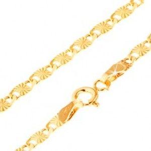 Šperky eshop - Zlatý náramok 585 - ploché články s lúčovitým ryhovaním a výrezmi, 210 mm GG24.29