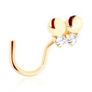 Šperky eshop - Zlatý piercing do nosa 585 - zahnutý, drobný motýlik zdobený čírymi zirkónmi GG95.21