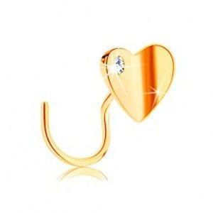 Šperky eshop - Zlatý piercing do nosa 585, zahnutý - lesklé zalomené srdiečko so zirkónom GG141.12