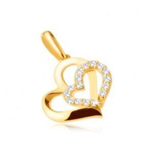 Šperky eshop - Zlatý prívesok 375 - dve asymetrické kontúry srdiečok, kamienky GG31.26