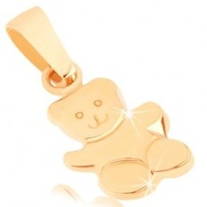 Šperky eshop - Zlatý prívesok 375 - lesklý mávajúci macko, gravírované detaily tváre GG44.11