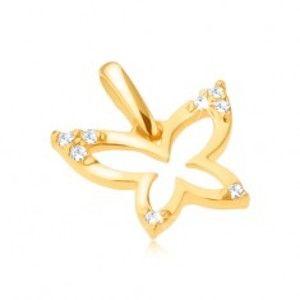 Šperky eshop - Zlatý prívesok 375 - ligotavý obrys motýľa, zirkónové cípy krídel GG31.23