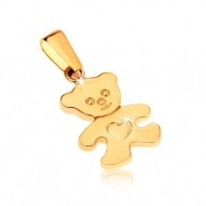 Šperky eshop - Zlatý prívesok 375 - ligotavý plochý medvedík so srdiečkom na brušku GG32.01