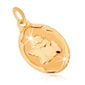 Šperky eshop - Zlatý prívesok 375 - oválna známka, anjelik podopierajúci si hlavu GG70.11