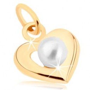 Šperky eshop - Zlatý prívesok 375 - široká srdiečková kontúra, biela guľatá perlička GG46.08