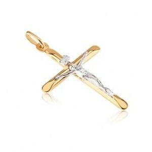 Šperky eshop - Zlatý prívesok 585 - kríž s oválne skosenými cípmi a Kristom GG06.03
