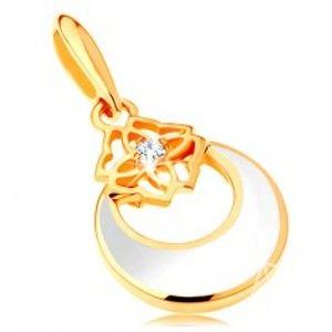 Šperky eshop - Zlatý prívesok 585 - kruh s výrezom a bielou glazúrou, ornament, zirkón GG123.01