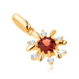 Šperky eshop - Zlatý prívesok 585 - kvietok zdobený čírymi kamienkami a červeným granátom GG91.17