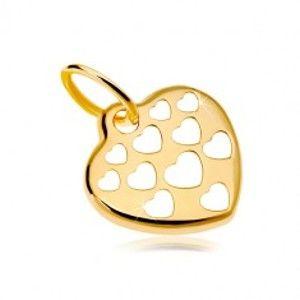 Šperky eshop - Zlatý prívesok 585 - lesklé srdce zdobené vyrezávanými srdiečkami GG18.21
