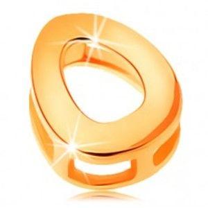 Šperky eshop - Zlatý prívesok 585 - lesklý a hladký povrch, tlačené veľké písmeno O GG124.11