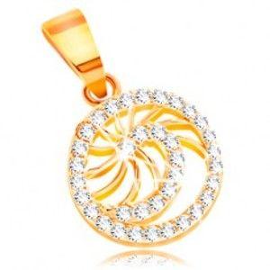 Šperky eshop - Zlatý prívesok 585 - ligotavá špirála z čírych zirkónov, tenké lesklé lúče GG211.59