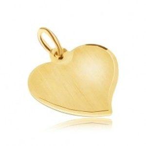 Šperky eshop - Zlatý prívesok 585 - nepravidelné ploché srdce, saténový povrch, lesklý okraj GG30.03