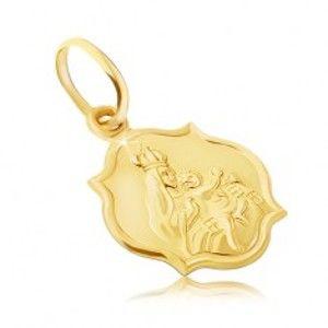 Šperky eshop - Zlatý prívesok 585 - obojstranná matná známka s Madonou a Kristom GG05.15