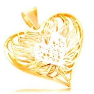 Šperky eshop - Zlatý prívesok 585 - veľké dvojfarebné srdce, stred z bieleho zlata, plamene okolo GG212.02