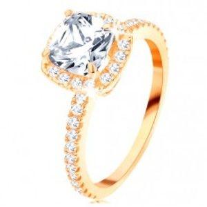 Šperky eshop - Zlatý prsteň 585 - ligotavý okrúhly zirkón v ozdobnom kotlíku, trblietavé línie GG113.14/20 - Veľkosť: 65 mm