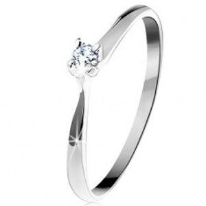 Šperky eshop - Zlatý prsteň 585 - trblietavý číry zirkón v štvorcípom kotlíku, biele zlato GG203.01/08/203.59/60 - Veľkosť: 51 mm